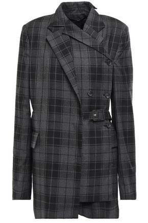 ROKH Double-breasted layered checked twill wrap jacket