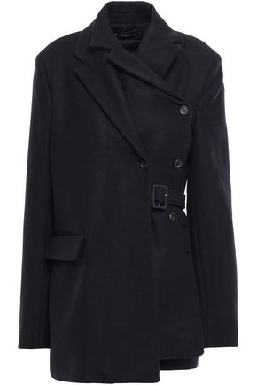 ROKH Double-breasted layered wool-blend wrap coat