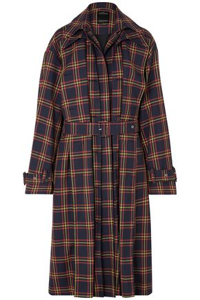 ROKH Layered checked twill trench coat