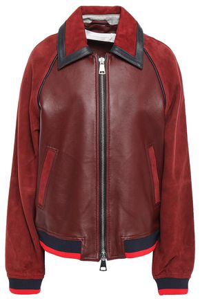 VICTORIA, VICTORIA BECKHAM Paneled color-block suede and leather bomber jacket