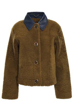 VICTORIA, VICTORIA BECKHAM Leather-trimmed shearling jacket