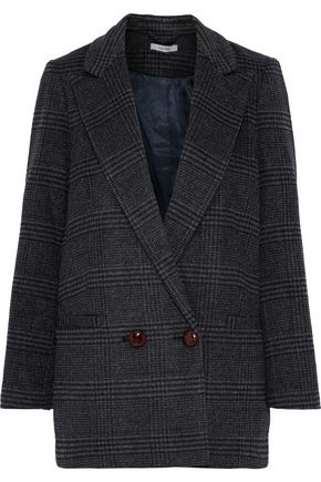 GANNI Woodside double-breasted checked wool-blend blazer
