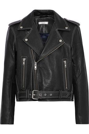 GANNI Angela textured-leather biker jacket