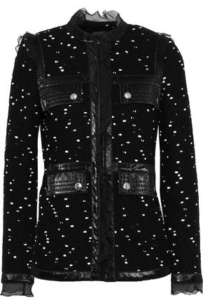 GIAMBATTISTA VALLI Faux patent leather-trimmed wool-blend bouclé-tweed jacket