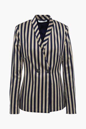 JONATHAN SIMKHAI Double-breasted striped cotton-blend blazer