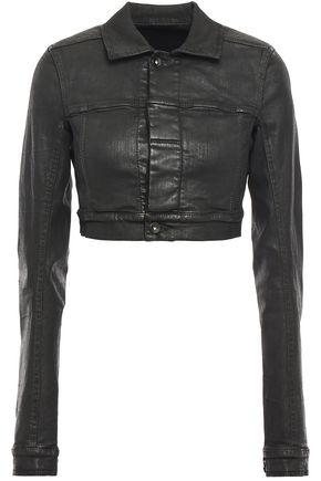 DRKSHDW by RICK OWENS Cropped waxed-denim jacket