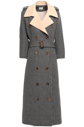 KHAITE Double-breasted checked wool trench coat