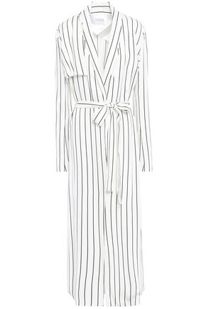GALVAN  London Belted striped satin-crepe trench coat