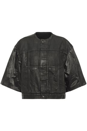 DRKSHDW by RICK OWENS Coated shell-paneled denim jacket