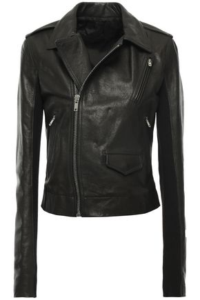 RICK OWENS Ribbed jersey-paneled textured-leather biker jacket