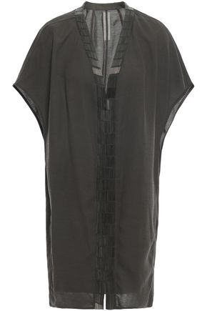RICK OWENS Bead-embellished draped wool-blend crepe jacket