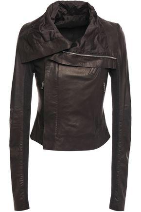 RICK OWENS Ribbed knit-paneled leather biker jacket