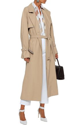 Lela Rose Coats LELA ROSE WOMAN GINGHAM WOOL-TRIMMED COTTON-BLEND GABARDINE TRENCH COAT LIGHT BROWN