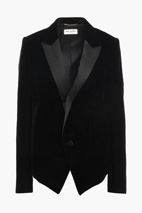 SAINT LAURENT Satin-trimmed velvet blazer