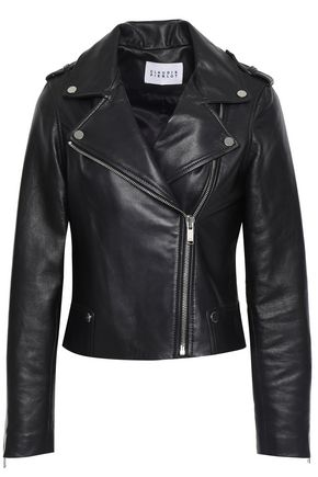 CLAUDIE PIERLOT Cassandre studded textured-leather biker jacket
