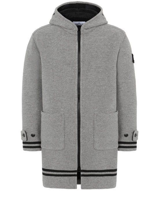 STONE ISLAND 71252 PANNO JACQUARD Mid-length jacket Man Dust Gray
