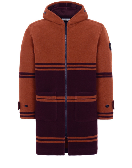 STONE ISLAND 71254 PANNO JACQUARD Mid-length jacket Man Dark Burgundy