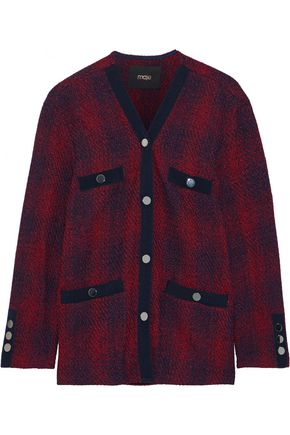 MAJE Vero grosgrain-trimmed checked jacquard-knit cardigan
