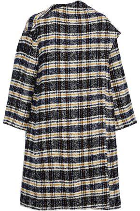 MAJE Giolina draped checked tweed coat