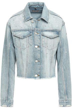 DL1961 Cropped faux pearl-embellished distressed denim jacket