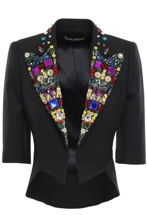 DOLCE & GABBANA Cropped embellished wool-blend jacket