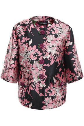 DOLCE & GABBANA Floral-appliquéd metallic brocade jacket