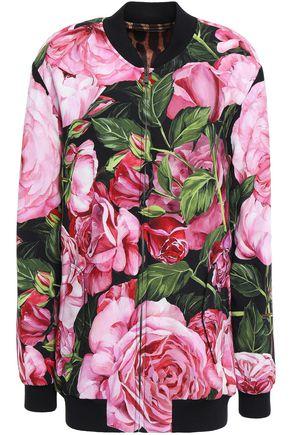 DOLCE & GABBANA Floral-print crepe bomber jacket