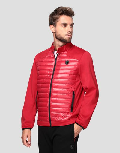 Men's softshell bomber with real down