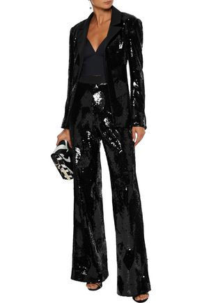 Brandon Maxwell Jackets BRANDON MAXWELL WOMAN GROSGRAIN-TRIMMED SEQUINED CREPE BLAZER BLACK