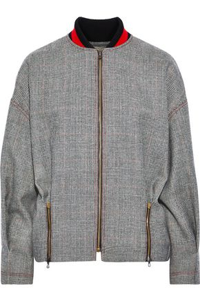 ROLAND MOURET Davis zip-detailed Prince of Wales checked wool jacket