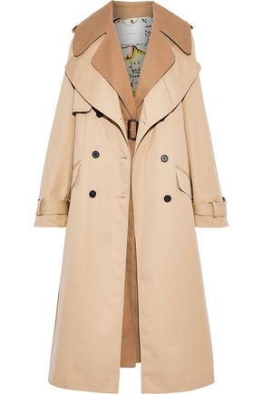 ADAM LIPPES Layered fringed garbadine trench coat