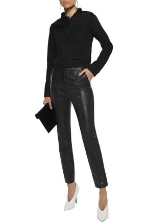 J Brand Woman Harlow Corded Lace-Paneled Denim Jacket Black
