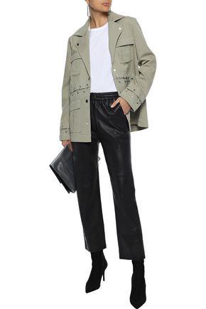 J Brand Woman Teagan Whipstitched Cotton-Blend Canvas Jacket Grey Green