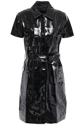 J BRAND Belted patent-leather mini shirt dress