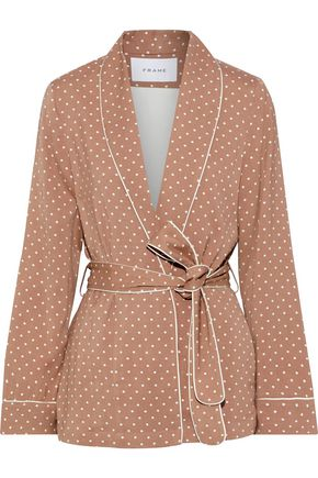 FRAME Belted polka-dot cady jacket