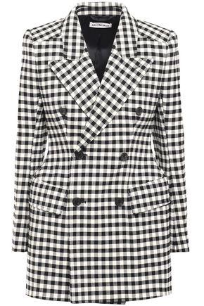 BALENCIAGA Double-breasted gingham jacquard coat