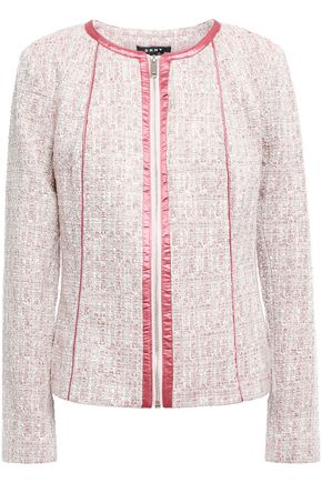 DKNY Satin-trimmed tweed jacket