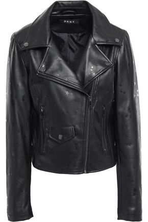 DKNY Printed faux leather biker jacket