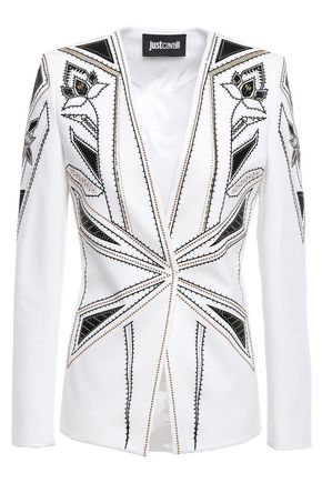 JUST CAVALLI Studded embroidered ponte blazer