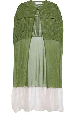 ESTEBAN CORTAZAR Two-tone crochet-knit cape