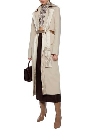 Rosetta Getty Coats ROSETTA GETTY WOMAN SATIN-TRIMMED WOVEN TRENCH COAT SAND