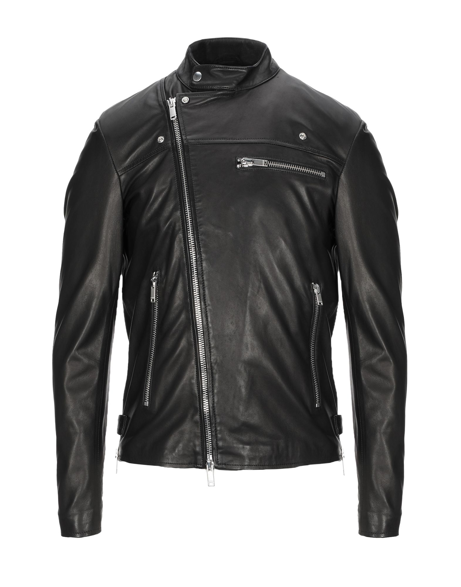 DONDUP Jackets. leather, logo, basic solid color, single-breasted, zip, lapel collar, multipockets, long sleeves, fully lined, contains non-textile parts of animal origin. 100% Lambskin