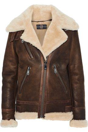 Leather Trimmed Shearling Biker Jacket by Dom Goor