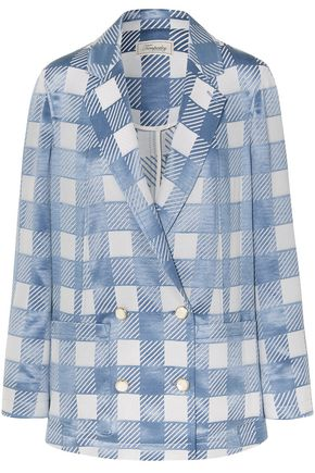 TEMPERLEY LONDON Lena double-breasted checked satin-jacquard blazer