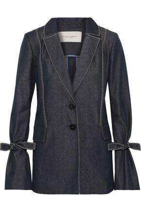 CAROLINA HERRERA Tie-detailed denim blazer