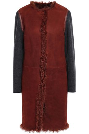 METEO by YVES SALOMON Wool and cashmere-blend paneled shearling coat