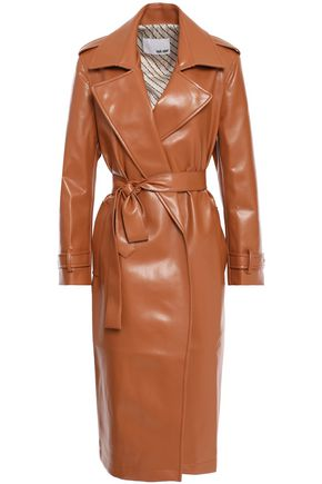 EACH X OTHER Belted faux leather trench coat