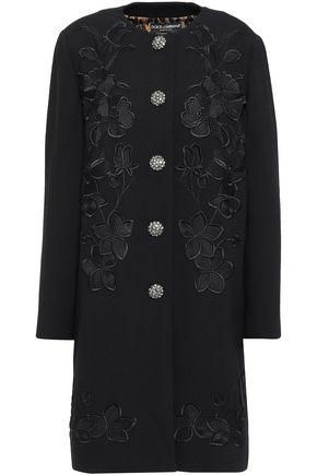 DOLCE & GABBANA 装飾付き ウール混クレープ コート