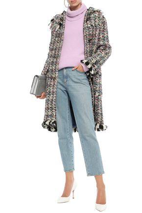 Missoni Coats MISSONI WOMAN FRINGE-TRIMMED WOOL-BLEND TWEED COAT BLACK