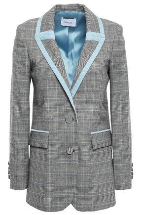 RACIL Okiya velvet-trimmed checked wool blazer
